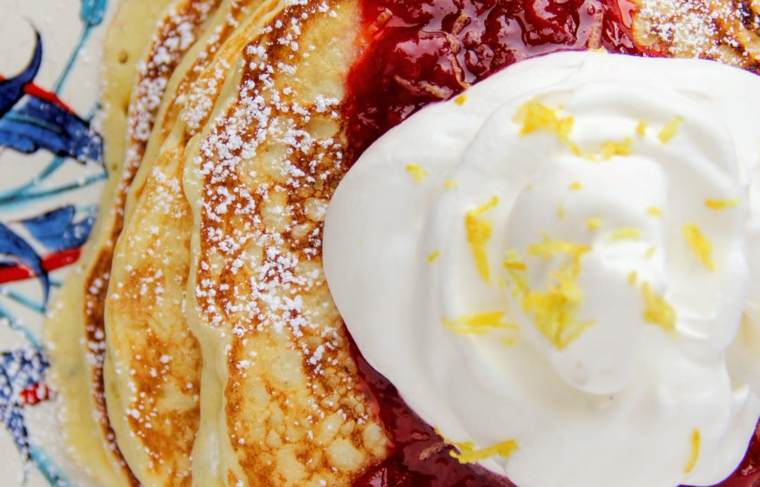 lemon ricotta pancakes with strawberry sauce by lindsay johnson of lady in the wild west for gen padalecki of now & gen wife of jared padalecki