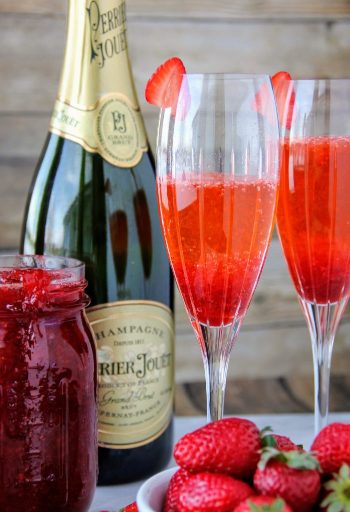 strawberry sauce mimosas made by lindsay johnson of lady in the wild west for gen padalecki of now & gen wife of jared padalecki