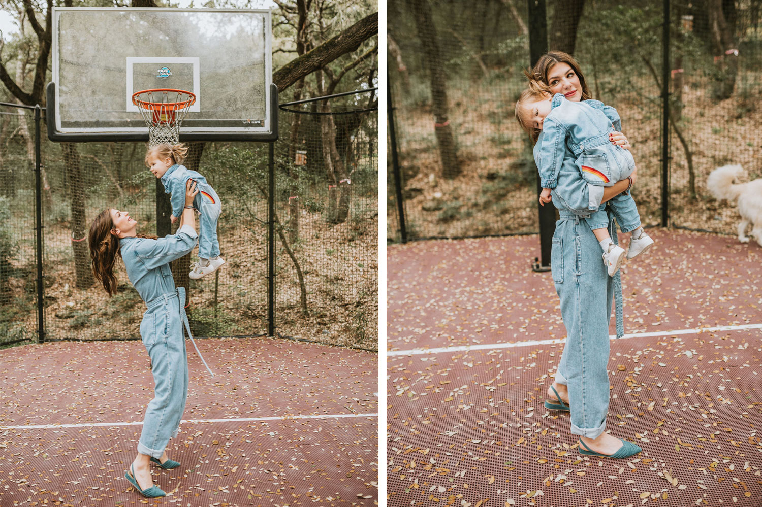 Gen Padalecki with her daughter in women's spring jumpsuits
