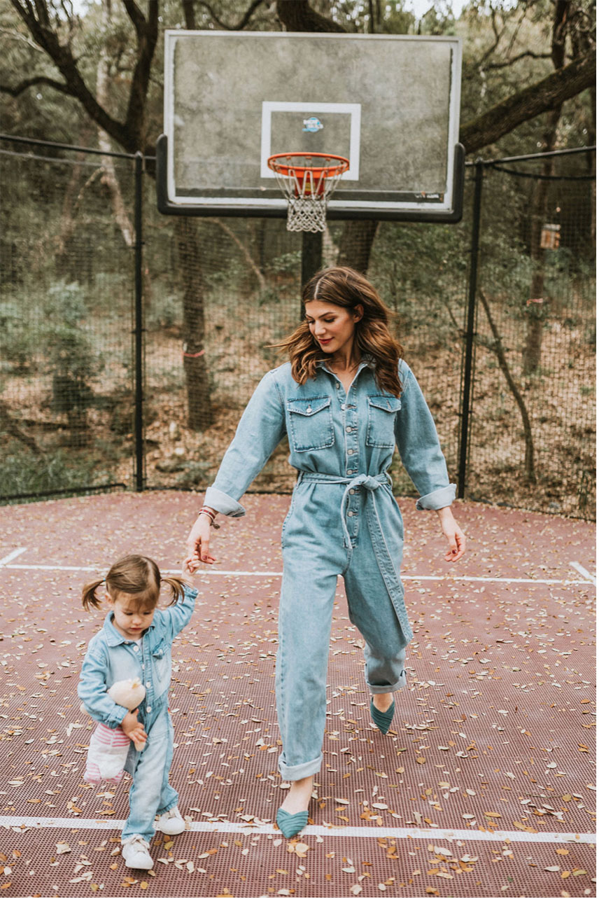 Gen and her daughter Odette in cute jumpsuits for spring